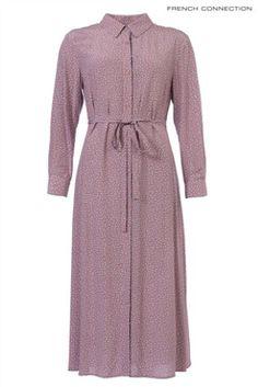 French Connection Rose Petal Pink Elao Drape Long Shirt Dress