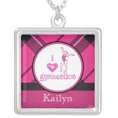 Plaid Heart Gymnastics Custom Name Necklace