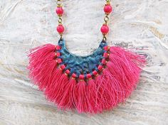 Fringe necklace set Bohemian tassel statement by Gypsymoondesigns