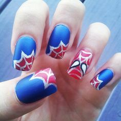 Spiderman handpainted fake nails by adorkablenails on Etsy, $19.00