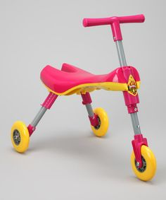 This compact scooter is fun to pack and play! The folding design is great for carrying and it has three wheels to glide across the floor.Weight capacity: 44 lbs.18'' W x 6'' H x 5'' DPlastic / metalRecommended for ages 1 year and upImported