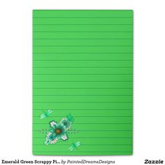 Emerald Green Scrappy Piece Design Print Lined Post-it® Notes