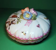 Gorgeous Large Herend Hand Painted Porcelain Box w/ Lid #Herend