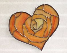 Items similar to Stained Glass Heart and Rose Suncatcher on Etsy