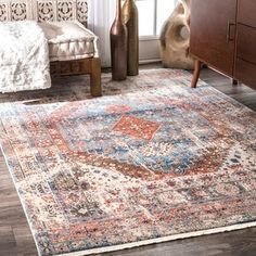 nuLOOM Vintage Faded Olden Tribal Medallion Blue Rug (8' x 10') - Free Shipping Today - Overstock.com - 23884187