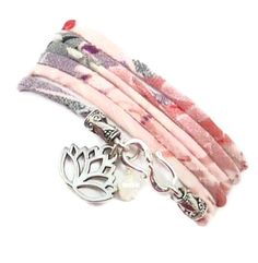 Wrap Bracelet with Lotus Flower Charm  by charmeddesign1012, $36.00
