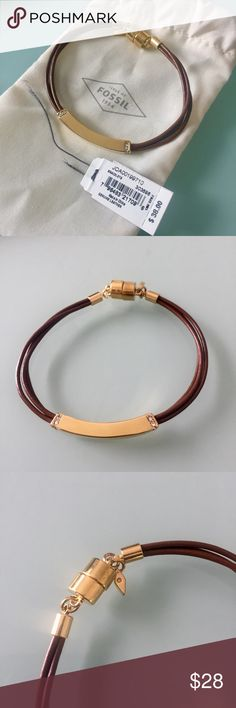 Fossil Leather Gold Crystal Bracelet New with tags and cloth gift bag. Never worn! Beautiful genuine brown leather bracelet by Fossil. Gold hardware with crystals. Magnetic closure. Fossil Jewelry Bracelets
