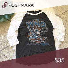 {men's} junk food brand band baseball tee the who Worn and washed once Junk Food Clothing Shirts Tees - Long Sleeve