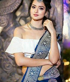 White Blouse Designs for White Sarees Beautiful Girl Photo, Cute Girl Photo, Beautiful Girl Indian, Most Beautiful Indian Actress, Beautiful Saree, Beautiful Gorgeous, Beautiful Images, Blouse Back Neck Designs, Bridal Blouse Designs