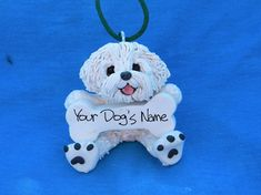 Personalized & Handcrafted Bichon Frise Dog Christmas Bone Ornament. Must get 2!