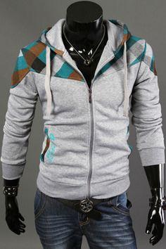 Plaid Splicing Hoodie Jacket In Light Gray