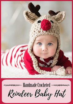 What a sweet handmade crochet reindeer baby hat! So cute for winter holiday and Christmas pictures! Love it!!! #rudolph #rednose #reindeer #crochet #baby #hat #toque #beanie #earflaps #etsy #handmade #affiliatelink