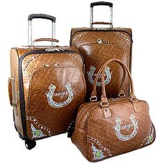 """WESTERN MONTANA WEST BROWN COWGIRL HORSESHOE SUITCASE LUGGAGE SET DUFFLE BAG love it except the """"cowgirl"""" written in the horseshoe"""