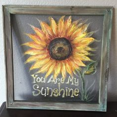 you are my sunshine sunflower window screen hand painted art
