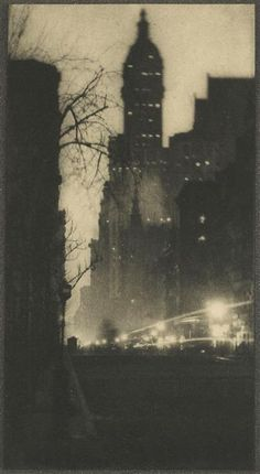 Alvin Langdon Coburn Broadway and the Singer Building by night