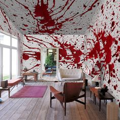 The creative team at PIXERS inspired by Roman Polanski's dark psycho-sexual movie Bitter Moon from 1992 have created The Bloody Moon wall murals. The murals come in several gory designs including Bloody Splash, Bloody Hands, Blood Splatter, Bloody Spots and more.