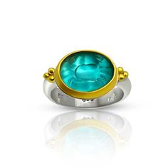 Bring back those carefree beach vacations with this Murano glass intaglio crab in the rich turquoise of deep Caribbean waters. It is set in a 22 karat gold b. Custom Jewelry, Jewelry Art, Gold Jewelry, Unique Jewelry, Artisan Jewelry, Handcrafted Jewelry, Gold And Silver Rings, Stone Carving, Gemstone Rings