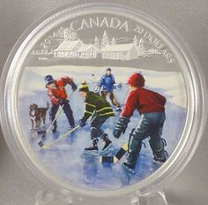 Canada 2014 Pond Hockey - 1 Troy oz. Fine Silver $20 Proof Coin - Mintage: 8,500