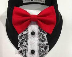 Dog Clothing Elegant black and Red Dog Bandana By Little Paws Boutique - Girl Dog Clothes, Dog Coat Pattern, Dog Clothes Patterns, Dog Crafts, Dog Items, Dog Wedding, Dog Costumes, Red Dog, Dog Dresses