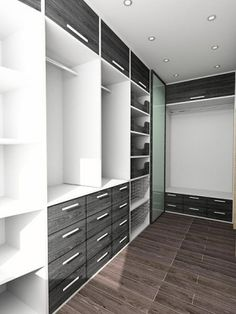 This sleek and modern walk-in closet is in deep greys and white. The storage consists of open shelving baskets pullout drawers and hanging rods. & how to design a walk in u-shape storage closet - Google Search ...