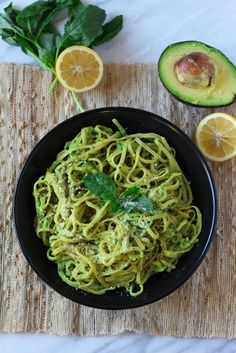 A quick pasta sauce made of avocado, fresh basil, garlic, lemon and olive oil is the perfect way to bring the taste of summer to anytime of the year.