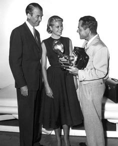 Grace Kelly, James Stewart and Frank Capra, 1954.