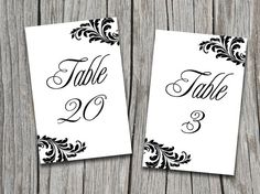 INSTANT DOWNLOAD Ornate Black and White Victorian Leaf Table Number Cards Microsoft Word Template - Elegant Flourish Wedding Table Number by PaintTheDayDesigns, $9.00