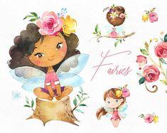 Fairies Watercolor magic clipart little girls dark skins Fairy Clipart, 2 Clipart, Illustration Mignonne, Cute Illustration, Conception Web, Royal Girls, Rainbow Fairies, Rainbow Unicorn, Graphic