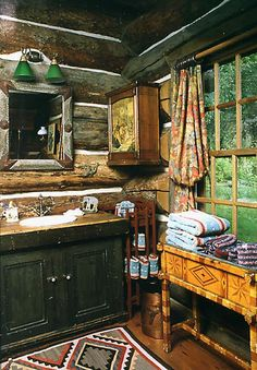 Log Bathroom With Chink Style Walls...