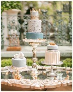 For a luxurious and opulent feel: Romantic Blue & Gold Wedding Inspiration Cakes By Melissa, Blue Gold Wedding, Traditional Wedding Cakes, Wedding Cake Inspiration, Wedding Ideas, Wedding Shoot, Wedding Venues, New Orleans Wedding, Unique Wedding Cakes