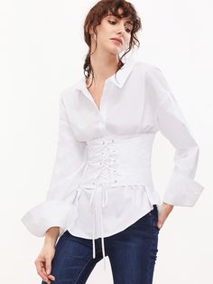 d40c6e9d010b Online shopping for White Lace Up Back And Belt Blouse from a great  selection of women s fashion clothing   more at MakeMeChic.