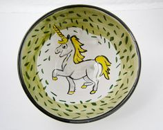 Ceramic Unicorn Horse Bowl Pottery Clay by ClayLickCreekPottery