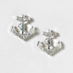Silver and Crystal Anchor Stud Earrings