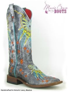 Anderson Bean - Ladies Dakota Darling Boot - Blue - Roper Heel, Double Welt Stitch, Leather Sole, Cush-N-Sole