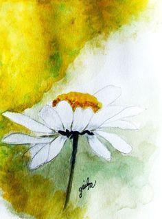 White Daisy - Watercolor