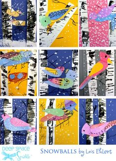 Winter-Bird-art-lesson. Got to have my daughter do this and create some beautiful art for our walls!: