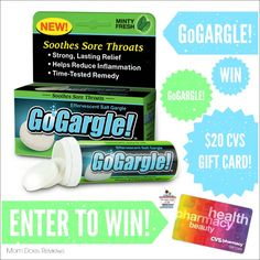 Welcome to another great giveaway hosted by Mom Does Reviews!  This giveaway is sponsored by GoGargle! Each year over 15 million people visit a doctor for a sore throat, but it doesn't have t be that way. GoGargle! is based on the time-tested...
