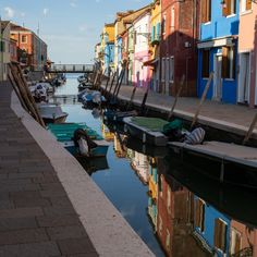 """""""Burano in the early morning (Venice, Italy)"""" by Elusive Edamame - €13.81 Display Advertising, Print Advertising, Water Island, Boat Painting, Retail Merchandising, Blue City, Edamame, Travel And Tourism, Us Images"""