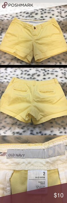 Old Navy Yellow Shorts Great condition! Pink stain on front. Mid-rise. Size 2. Old Navy. Old Navy Shorts