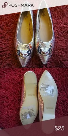 "Shullys fierce owl loafers Adorable Owl with red flames. These flats are a little statement in a comfy shoe. Gold faux leather. Pointed, protected tip with gold metal plate in the front. Perfect for that xmas party, show some gold and be comfy. Worn a few times. .25"" heel. Open to offers! Xoxo Shoes Flats & Loafers"