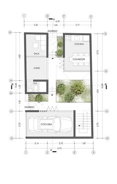 Modern House Plans, Small House Plans, House Floor Plans, Residential Building Plan, Tyni House, Villa Plan, Modern Villa Design, Social Housing, Facade Architecture