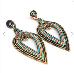 Bohemia Hollow Rhinestone Beads Water Drop Earrings For Women #DropDangle