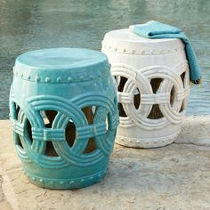 """Cerulean Blue Interlocking Rings Stool - got this because I read we should have """"Something old, something new, something blue and something Oriental."""""""
