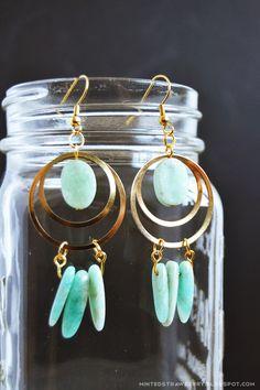DIY: stone & brass dreamcatcher earrings
