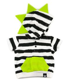 Littlest Prince Couture Black, White & Lime Stripe Dino Hoodie - Infant, Toddler & Boys | zulily