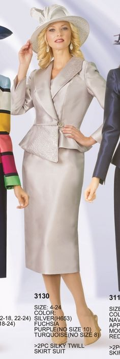 Lily and Taylor 3130 Womens Asymmetrical Church Suit- Two piece silky twill women's asymmetrical church suit.