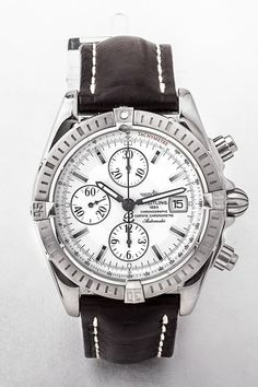 Gents stainless steel Breitling automatic chronomat watch with date window and silver face with sub dials, 45mm dial, on black leather strap. #dublin #ireland #fathersday #breretonjewellers #weddingjewellery #junebirthday #vintagewatch #luxuryjewellery #dublinjewellers #watch #wedding #summer #spring #gifts #watch #breitling #breitlingchronomat #menswatch