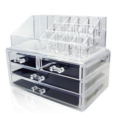 Acrylic Makeup Organizer Cosmetic Jewerly Display Box 2 Piece Set by AcryliCase?? *** More info @ http://www.amazon.com/gp/product/B015280Z9A/tag=homeimprtip08-20