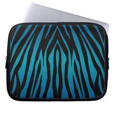 Bright Blue and Black Zebra Stripes Laptop Sleeves