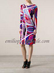 EMILIO PUCCI Multicolor Pattern Print Shift Short Dress